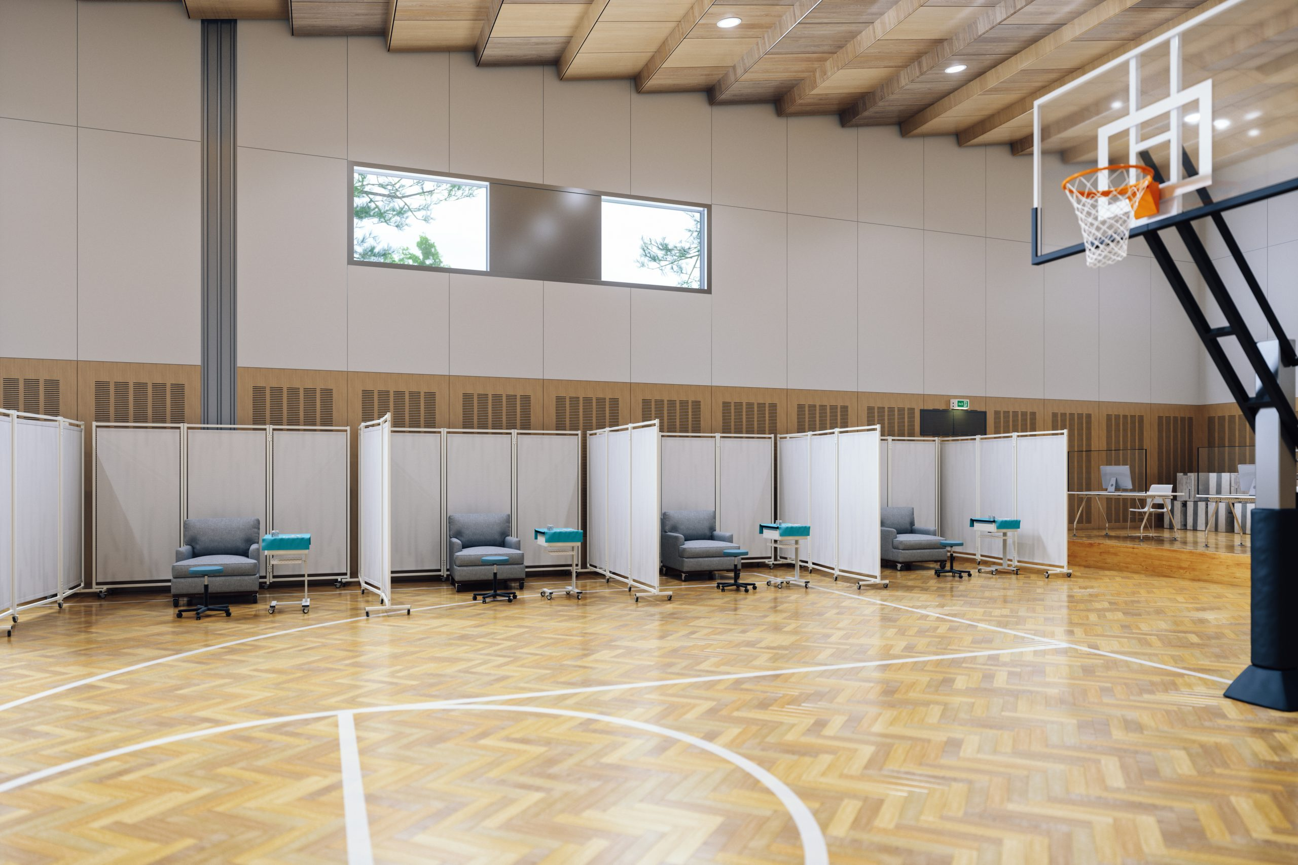 Basketball court transformed into a mass vaccination centre.